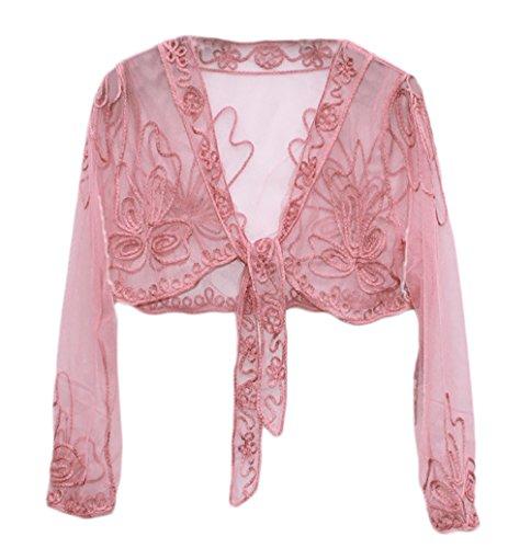 Bolero Stile Coprispalle Matrimoni Vintage Manica Cardigan Rosa Abbigliamento Lannister Elegante Da Pizzo Donna Lunga Bolerino Cerimonia Filato Trasparente Netto Dolce fYnXAqZTw
