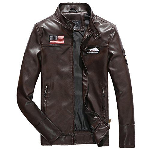 H.T.Niao Jacket8930C2 Men's Fashion Leisure Collar PU Leather(Coffee,Size XL) (Devil Makeup Stack)