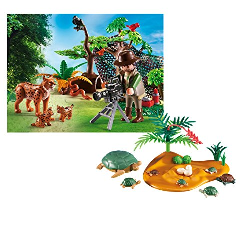 Baby Lynx - Playmobil Turtle and Babies Bundled with Lynx Family and Cameraman Playset