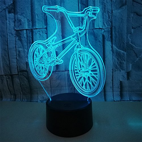 BEIGU Mountain Bike 3D Night Optical Lamp Visual Illusion Lamps with Base 7 Colors Changing Light Bedside Decoration for Kid Rider Birthday Gift