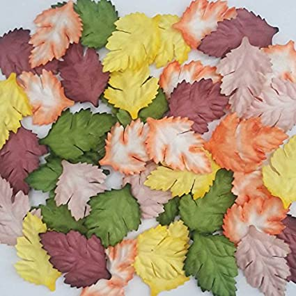 Amazon 100 Pcs Artificial Leaves Mixed 5 Color Mulberry Paper