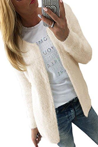 LeNG Women's Open Front Scoop Neck Long Sleeve Winter Warm Blazer Jacket Cardigan Sweaters BeigerSmall (Route 66 Blazer)