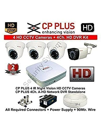 CP Plus Tubros 4 HD CP-UVR-0401E1S 4-Channel DVR Kit (White) Dome Cameras at amazon