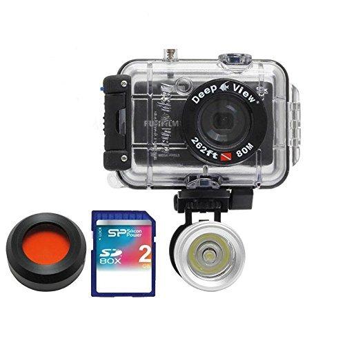 underwater digital camera Bundle: Pack Camera Fujifilm Jx650 + Waterproof Case Under 80 Meters + Flashlight Lf300 3w + Red Filter + Memory Card Sd 2 Go by Deep View