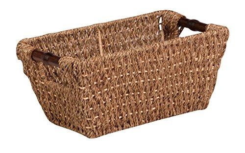 Honey-Can-Do STO-02964 Sea Grass Basket Tote with Handles, 14 by 8 by 6-Inch, Natura