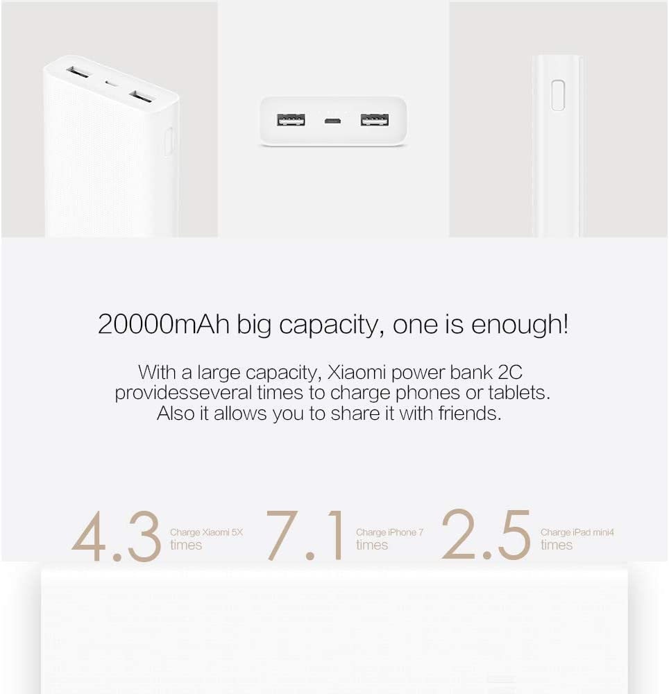 Xiaomi Mi Power Bank 20000 Mah White Elektronik