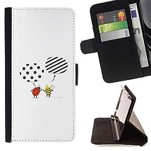 LG Magna / G4C / H525N H522Y H520N H502F H500F (G4 MINI,NOT FOR LG G4)Case , Abeja linda de la historieta mariquita Blanca- la tarjeta de Crédito Slots PU Funda de cuero Monedero caso cubierta de piel