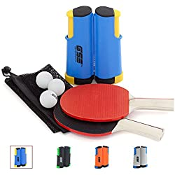 GSE Games & Sports Expert Anywhere Portable Ping Pong Table Tennis Set to Go - Includes Retractable Net & Post, 2 Paddles & 3 Ping Pong Balls (4 Colors) (Blue)