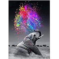 GLLCYL 5D Fai da Te Pittura ad Olio Colore Animale Modelli di Elefante Dipingi con i Numeri Pittura Digitale 40x50cm