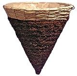 Tierra Garden 60-10748 Natural Rattan Twig Cone Planter Basket, 14 by 15-Inch