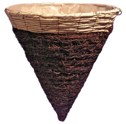 Cone Planter - Tierra Garden 60-10748 Natural Rattan Twig Cone Planter Basket, 14 by 15-Inch