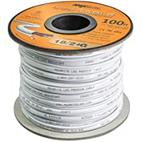 18AWG Low Voltage LED Cable, 3 Conductor, Outdoor Rated, Jacketed In-Wall Speaker Wire UL/cUL Class 2, Sunlight Resistant (100ft)