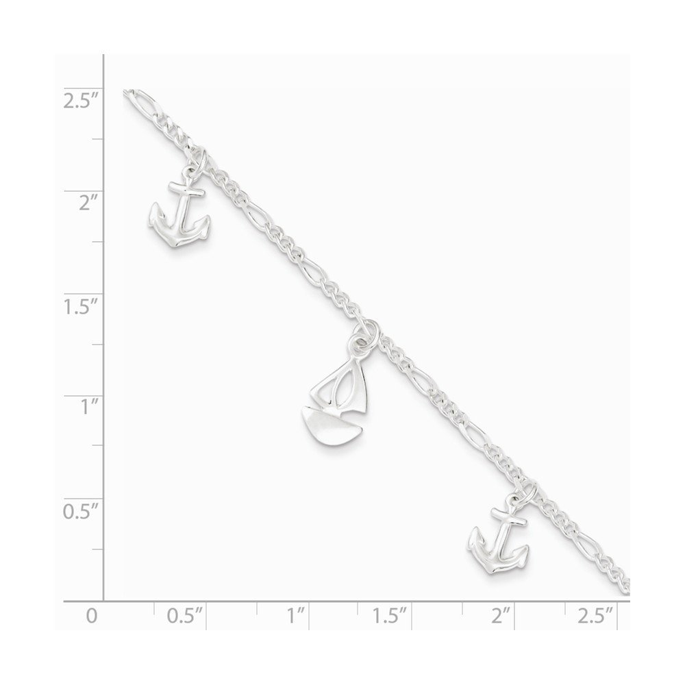 Anklet 9 Inches Long Sterling Silver Polished Boat and Anchor w// 1in ext