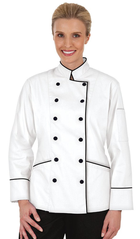 Women's White Traditional Long Sleeve Chef Coat with Piping (XS-3X) (Large)