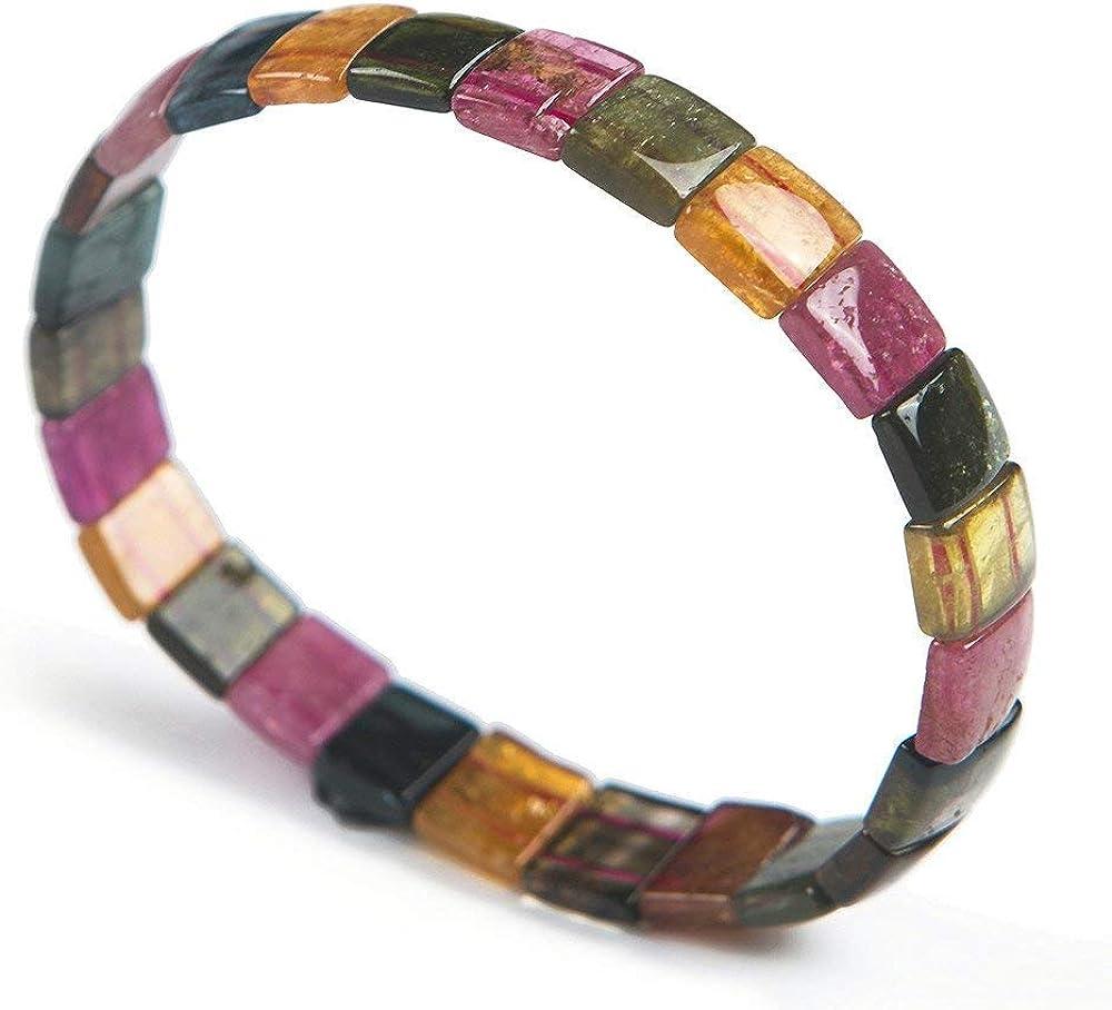 DUOVEKT Pulsera de cristal de turmalina colorida natural para mujeres y hombres, piedras rectangulares, joyería elástica de 10 x 9 x 3 mm, AAAAA