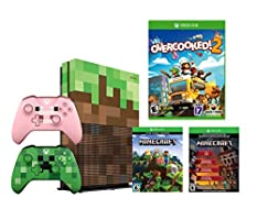 Microsoft Minecraft Limited Edition Xbox ONE S 1TB Console and Overcooked! 2 Bundle: with Minecraft Creeper and Pig Edition Wireless Controllers