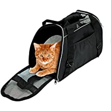 Soft Side Pet Carrier Travel Bag for Small Dogs and Cats Airline Approved Under Seat Black by Bencmate