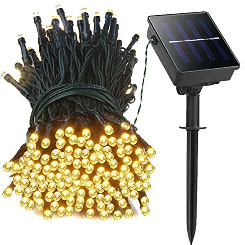 22.5' 1 Light (Neon King Solar String Lights 22.5 Ft, Warm White 1 Pack , 50 LED 8 Modes Using for Outdoor, Garden, Home , Wedding, Holiday, Christmas, Party, Patio, Waterproof. (1 Pack, Warm White))