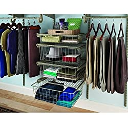ClosetMaid ShelfTrack 21 in. x 17 in. Ventilated Wire 4-Drawer Kit in Nickel