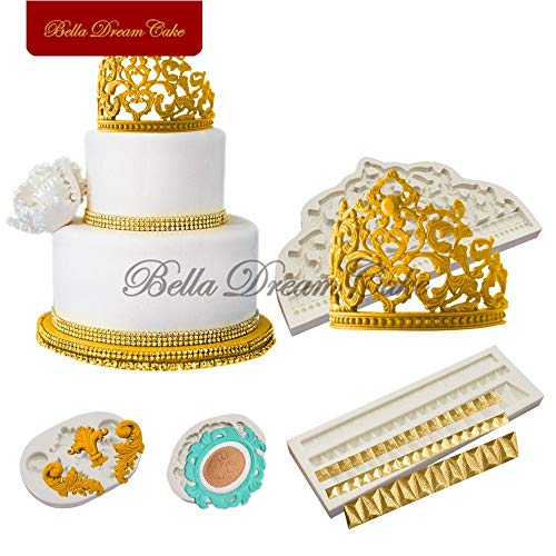 Crown Silicone Mold Cake Border Decoration Moulds Fondant Chocolate Sugarcraft Mould Cake Decorating Tools Baking Accessories ()