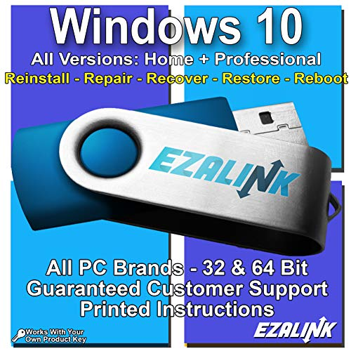 - Windows 10 Compatible Reinstall Recovery Repair Restore Fix Bootable USB by EzaLink® | Professional & Home 32 & 64 Bit ALL Brands HP, Dell, etc. [Instructions & Support]