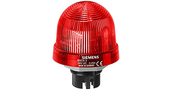 UC 24 V Rated Voltage IP65 Protection 70mm Diameter Siemens 8WD53 20-5DB Sirius Signal Column Beacon Thermoplastic Enclosure LED Lamp Red 8WD53205DB Rotating Beacon LED