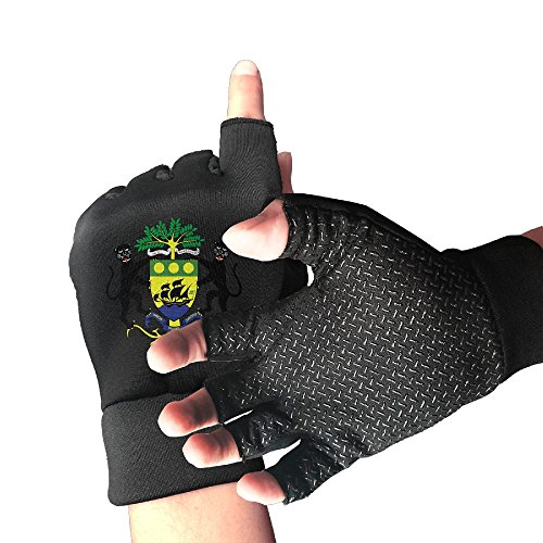 Gabon Coat - Bnj09jhue Coat Of Arms Of Gabon Breathable Men's/Women's Mountain Bike Gloves Half Finger Fitness Biking Gloves One Size