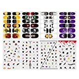 #10: Halloween Nail sticker,ETEREAUTY 8 Sheets Nail Art Decals Full Wrap Stickers Set With 1 Stickers File Bar & 1 Stickers Smoothing Rod