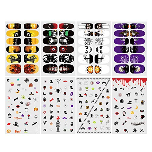 Nail sticker,ETEREAUTY 8 Sheets Nail Art Decals Full Wrap Stickers Set With 1 Stickers File Bar & 1 Stickers Smoothing Rod -
