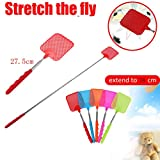 Makaor 78cm Plastic Telescopic Extendable Fly Swatter Prevent Pest Mosquito Tool Retractable Fly Swatter (Pink, Telescopic After: 77.5cm/ 31'')