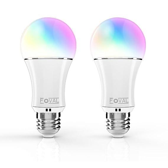 Foval (2 Pack) smart alexa Lampe, WIFI LED Lampe E27 Birne ...