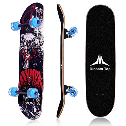 Dinsam Top 31 Inch Complete Skateboards for Beginners Kids Boys Girls Adult with Colorful LED Light Up Wheels Professional Competition ()