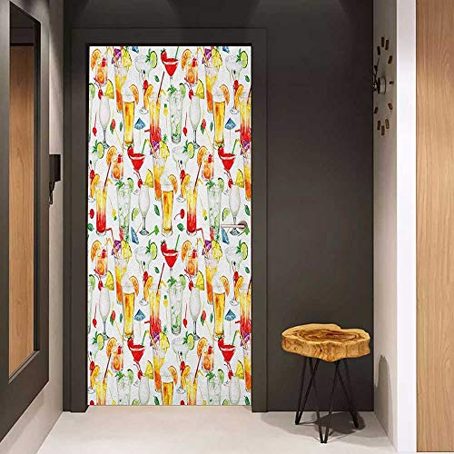 - Onefzc Pantry Sticker for Door Tiki Bar Exotic Cocktails Summer Drinks Fresh Juicy Beverages Watercolor Collection Art Sticker Removable Door Decal W36 x H79 Multicolor