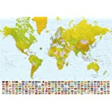 Pink world map wallpaper amazon kitchen home map of the world maps 366x254cm giant wall mural available for uk delivery only gumiabroncs Image collections
