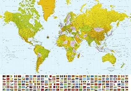Map Of The World Maps 366x254cm Giant Wall Mural Available For Uk