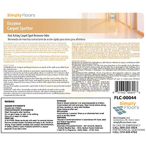Simply Floors FLC-00044 Enzyme Carpet Spotter - [Pack of 12 - 1 quart bottles] Professional Industrial Strength, Cherry Almond Carpet Spot Remover Solution