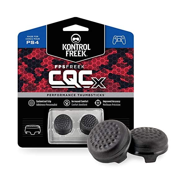 KontrolFreek CQCX Thumb Grips for PlayStation 4 Controller (PS4) and PlayStation 5 (PS5) | 2 Mid-Rise Convex Performance… 1