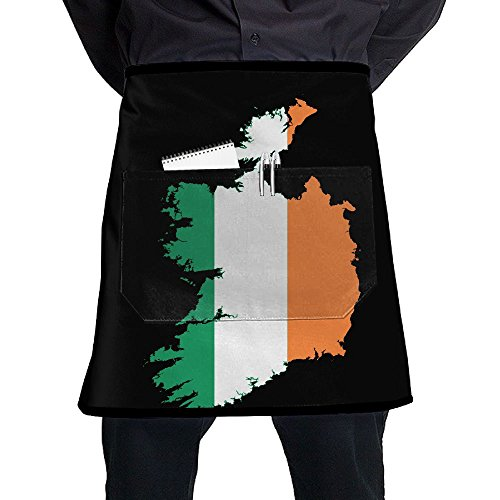 - Mens And Womens Ireland Flag Map Adjustable Bib Kitchen Apron With Pockets