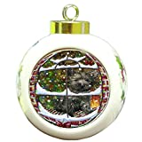 Please Come Home For Christmas Cairn Terrier Dog Sitting In Window Round Ball Christmas Ornament RBPOR48386