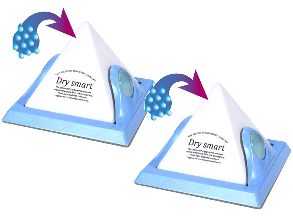 PACK OF 2 DEHUMIDIFYING PYRAMID DEHUMIDIFIER DAMP REUSABLE MOULD REMOVER MOISTURE - CONDENSATION IN CAR HOME CARAVAN WARDROBES EXPRESS TRADING ®
