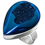 Pear Cobalt Blue Titanium Druzy 925 Sterling Silver Adjustable Ring, US 6