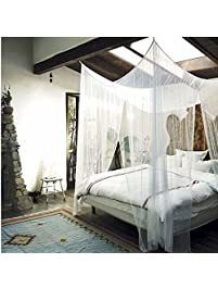 MayDecor 4 Corner Post Bed Canopy Mosquito Net Full Queen King Size Netting  Bedding White4-