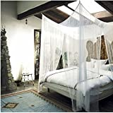 MayDecor 4 Corner Post Bed Canopy Mosquito Net Full Queen King Size Netting Bedding White4-Post Canopy