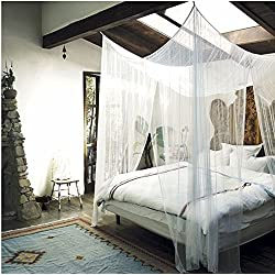 4 Corner Post Bed Canopy Mosquito Net Full Queen King Size Netting Bedding White4-Post Canopy