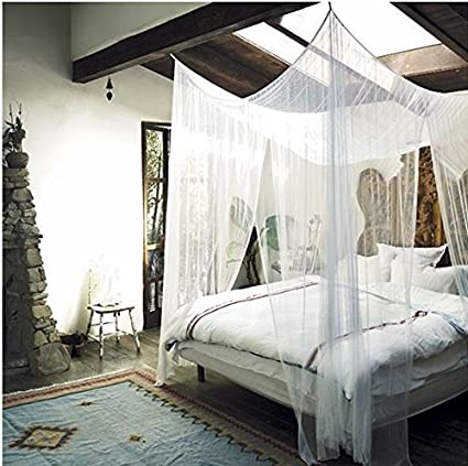 MayDecor 4 Corner Post Bed Canopy Mosquito Net Full Queen King Size Netting Bedding White4- & Amazon.com: MayDecor 4 Corner Post Bed Canopy Mosquito Net Full ...