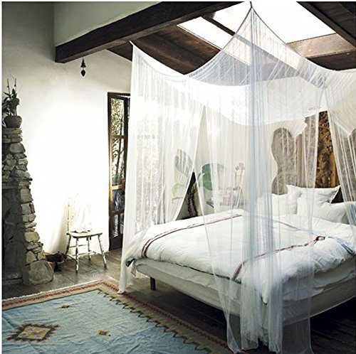 MayDecor 4 Corner Post Bed Canopy Mosquito Net Full Queen King Size Netting Bedding White4-Post Canopy (Black Iron Canopy Bed compare prices)