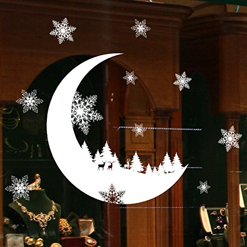 ZYEE Clearance Sale! Christmas Snow Christmas Snow Decoration Bedroom Wall Stickers WallpaperI (White)