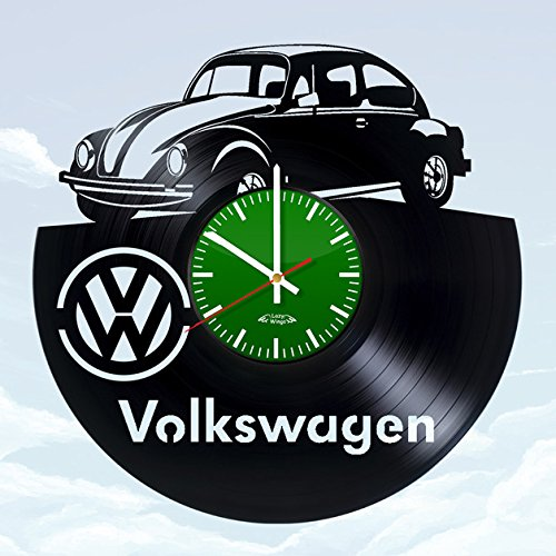 Price comparison product image Car Emblem Design Vinyl Record Wall Clock - Gift Idea for adults or youth - Contemporary garage wall art decoration