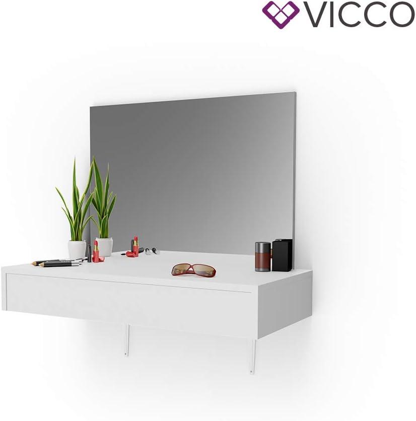Schminkkommode mit gro/ßen Schubf/ächer und riesigen Spiegel + Vicco Schminktisch Alessia Wei/ß wandh/ängend Frisiertisch Kommode Spiegel ++