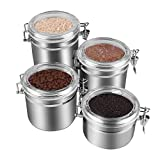 kitchen jars set sugar tea coffee - 4-Piece Stainless Steel Airtight Canister Set, Beautiful Food Storage Container for Kitchen Counter, Tea, Sugar, Coffee, Caddy, Flour Canister with Clear Acrylic Lid n' Locking Clamp Up to 65 oz